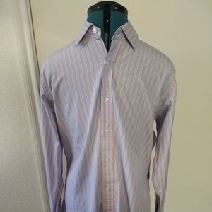 Seize Sur Vingt Mens Cotton Blue Pink Stripe Shirt